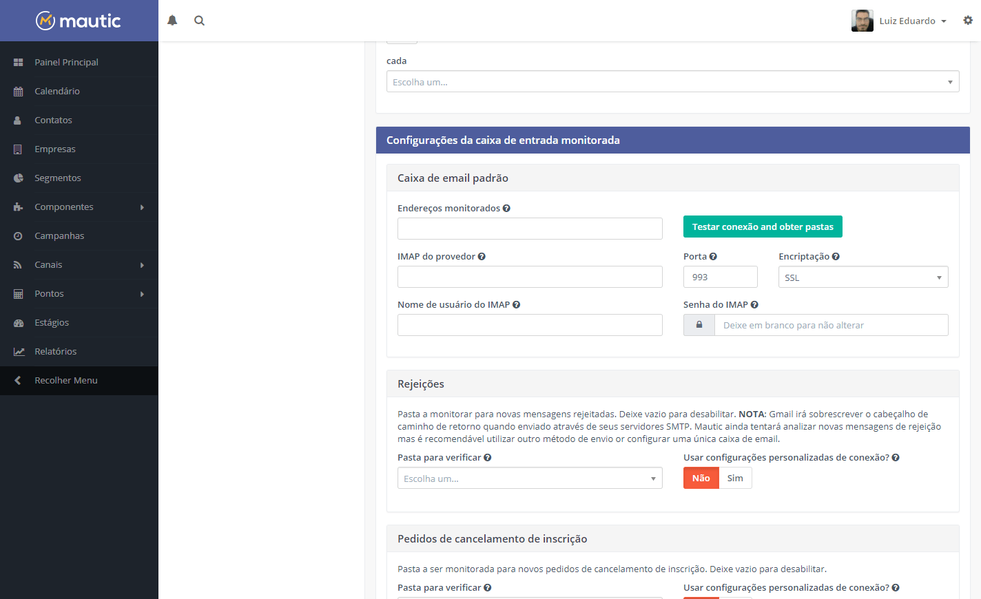 Configurando a Caixa de E-mail Monitorada no Mautic
