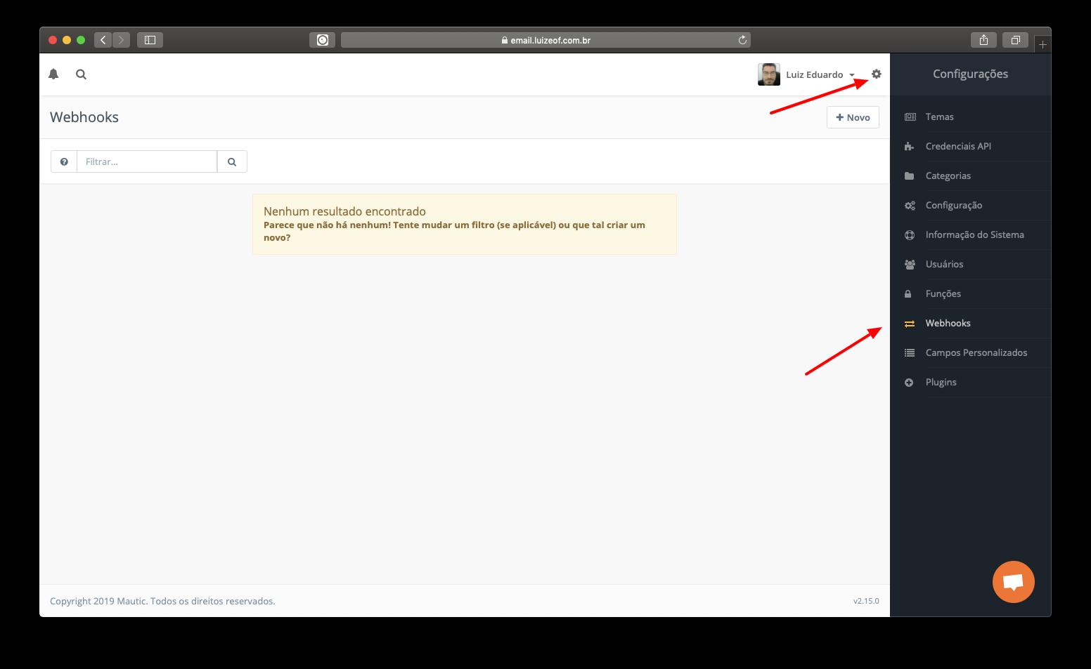 Configurando um Webhook no Mautic