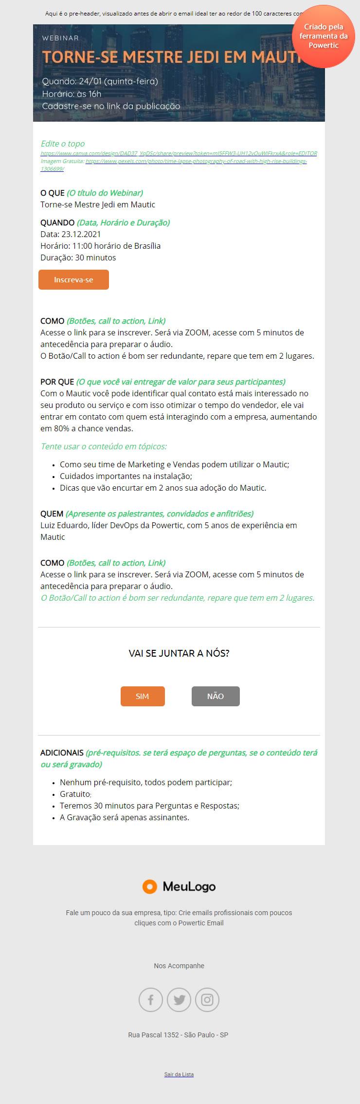 email convite webinar