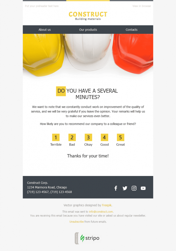 2518 Stripo Construction Trigger newsletter Survey Feedback Quick Question email web