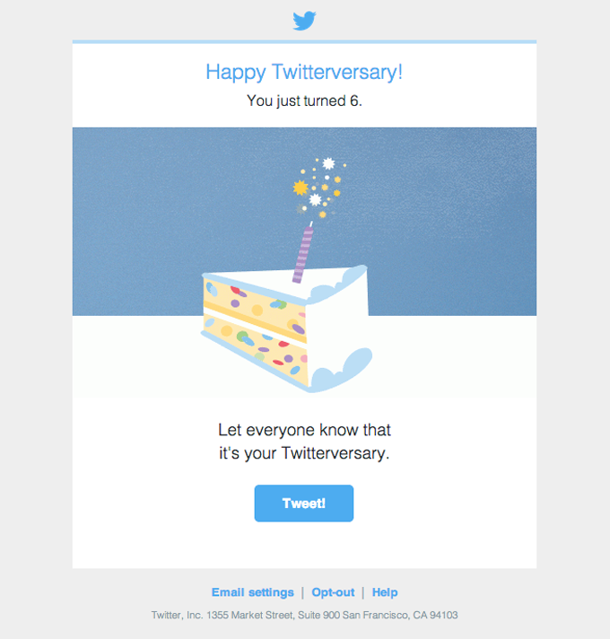 customer anniversary email design from twitter