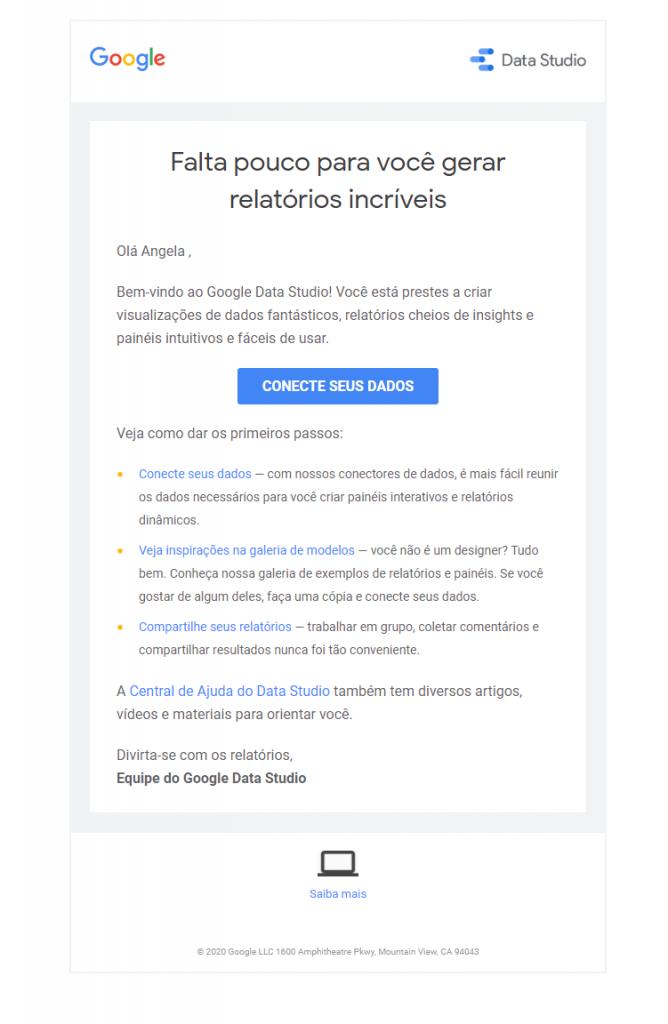 email boas vindas exemplo google data studio